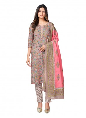 Grey Cotton Printed Readymade Suit