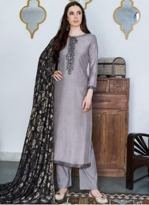 Grey Cotton Silk Embroidered Designer Pakistani Suit