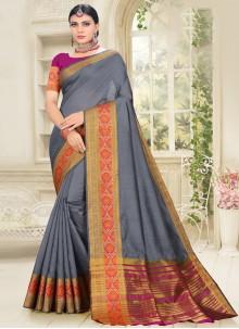 Grey Cotton Silk Traditional Saree