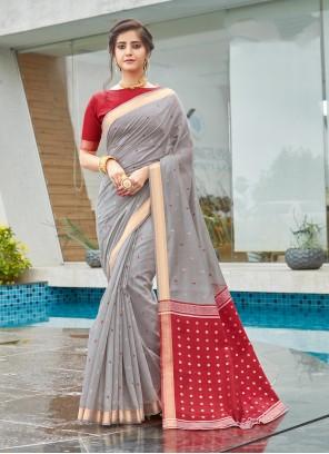 Grey Cotton Weaving Traditional Designer Saree