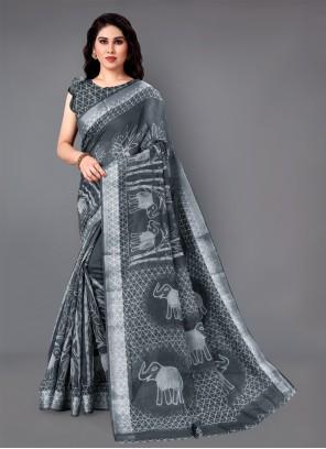 Grey Cotton Zari Classic Saree