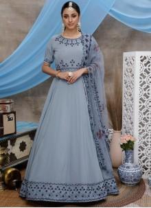 Grey Sequins Faux Georgette Designer Gown