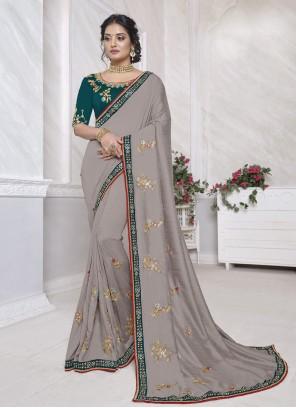 Grey Designer Saree