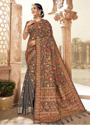 Grey Digital Print Banarasi Silk Traditional Saree