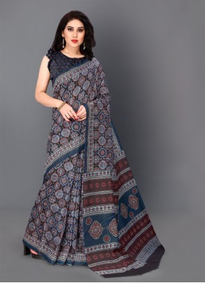 Grey Digital Print Classic Saree