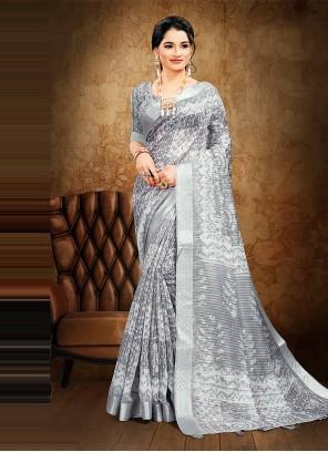 Grey Digital Print Cotton Saree