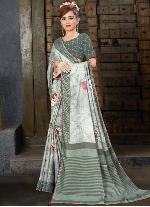 Grey Digital Print Linen Trendy Saree