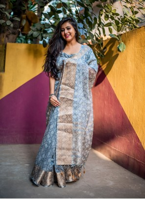 Grey Digital Print Traditional Saree