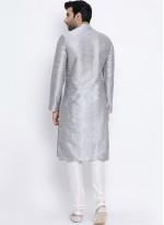 Grey Dupion Silk Sangeet Kurta Pyjama