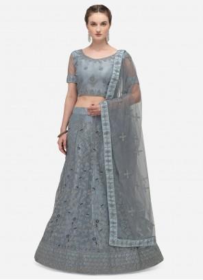 Grey Embroidered A Line Lehenga Choli