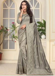 Grey Embroidered Art Silk Designer Traditional Saree