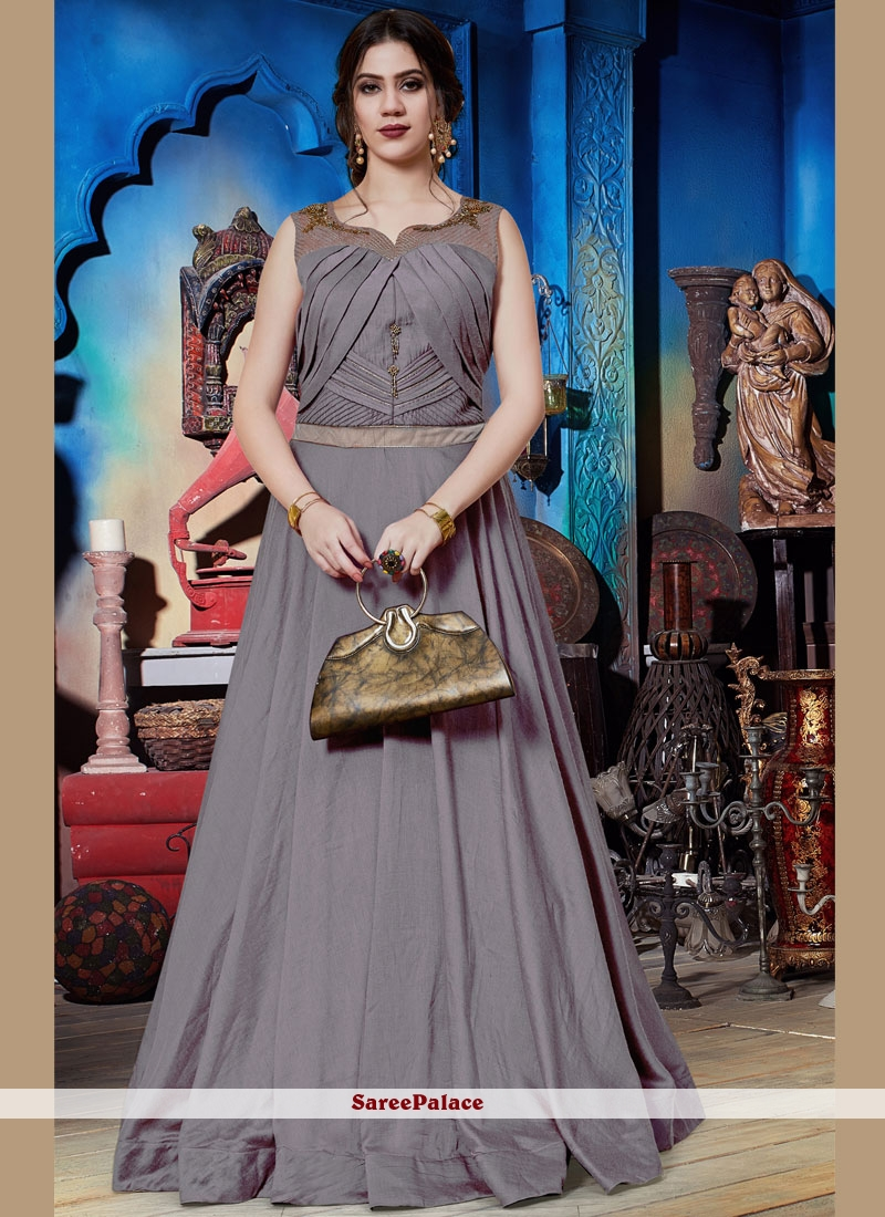 Grey Embroidered Art Silk Readymade Trendy Gown
