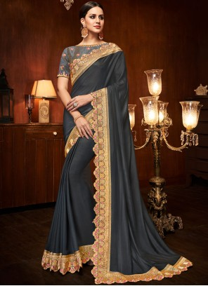Grey Embroidered Art Silk Traditional Designer Saree