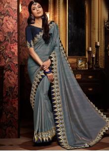 Grey Embroidered Art Silk Traditional Designer Saree