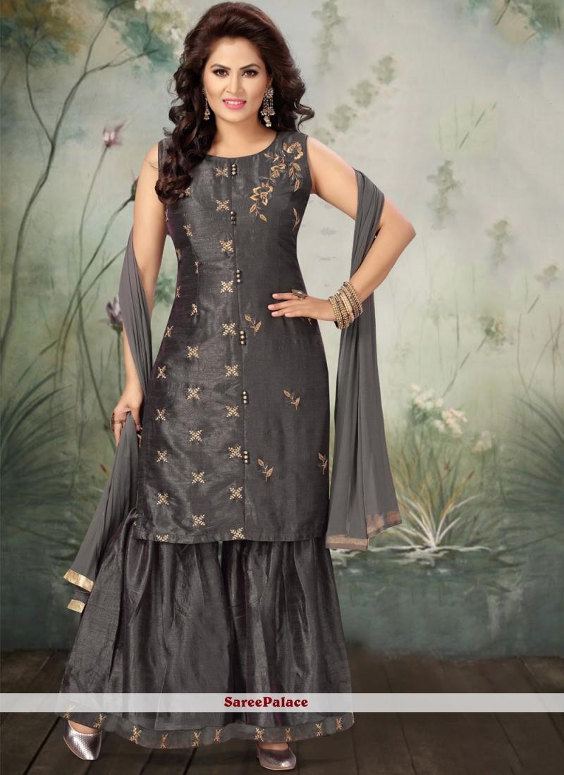 Grey Embroidered Bollywood Salwar Kameez
