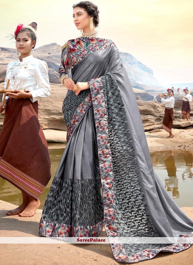 Grey Embroidered Ceremonial Classic Designer Saree