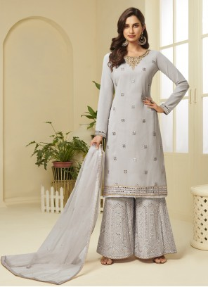 Grey Embroidered Ceremonial Designer Palazzo Suit