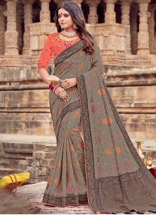 Grey Embroidered Ceremonial Trendy Saree