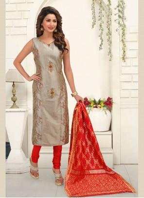 Grey Embroidered Churidar Salwar Kameez
