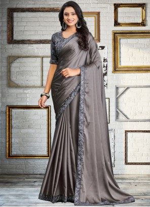 Grey Embroidered Classic Saree