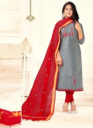 Grey Embroidered Cotton Salwar Kameez