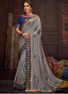 Grey Embroidered Cotton Silk Trendy Saree