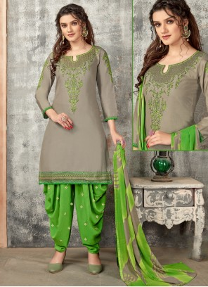 Grey Embroidered Designer Patiala Suit
