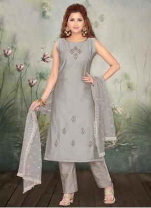Grey Embroidered Designer Salwar Suit