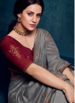 Grey Embroidered Designer Traditional Saree