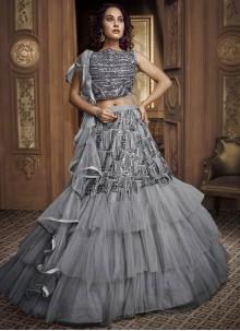 Grey Embroidered Fancy Fabric Designer Lehenga Choli