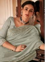 Grey Embroidered Faux Chiffon Classic Designer Saree
