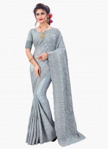 Grey Embroidered Faux Chiffon Designer Saree