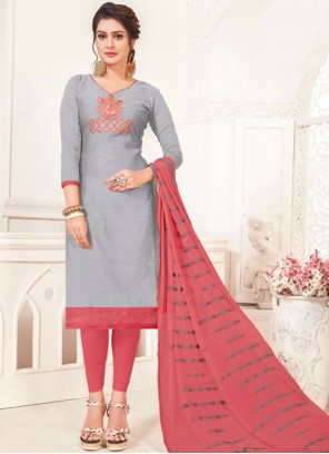 Grey Embroidered Festival Churidar Suit
