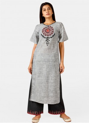 Grey Embroidered Festival Party Wear Kurti