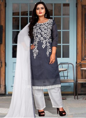Grey Embroidered Festival Salwar Suit
