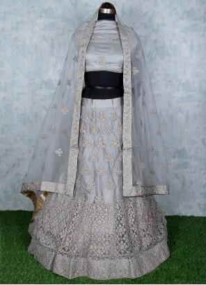 Grey Embroidered Lehenga Choli