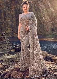 Grey Embroidered Net Classic Designer Saree