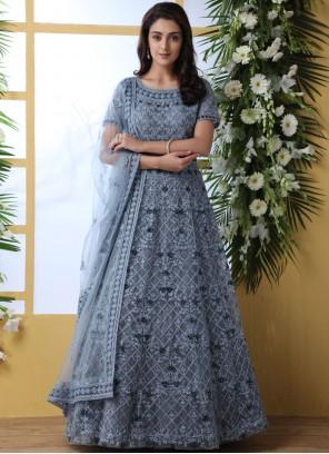 Grey Embroidered Net Designer Gown