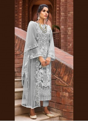 Grey Embroidered Net Designer Pakistani Suit
