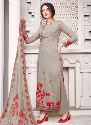 Grey Embroidered Palazzo Salwar Suit