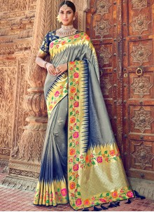 Grey Embroidered Party Classic Designer Saree