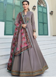 Grey Embroidered Readymade Designer Gown