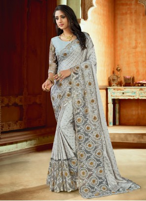 Grey Embroidered Satin Trendy Saree
