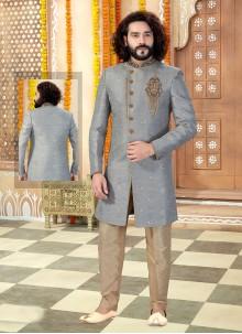 Grey Embroidered Sherwani
