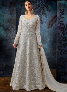 Grey Embroidered Silk Anarkali Suit