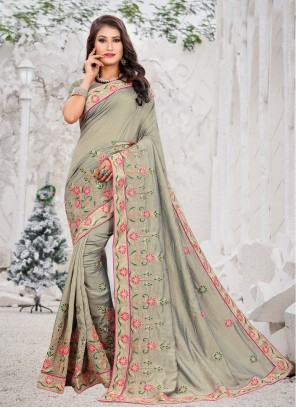 Grey Embroidered Silk Classic Designer Saree