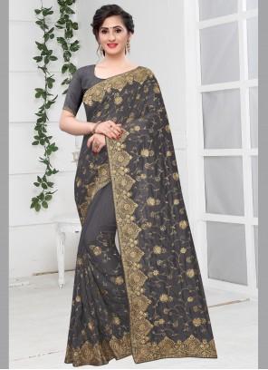 Grey Embroidered Silk Traditional Designer Saree