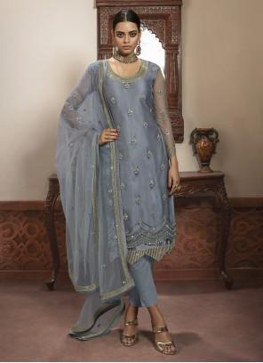 Grey Embroidered Trendy Salwar Kameez