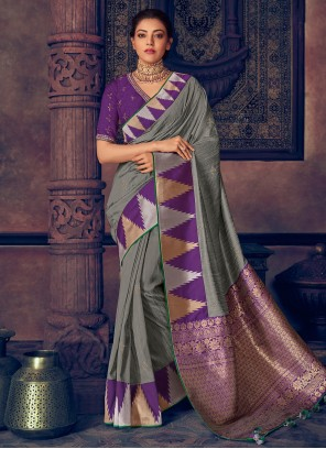 Grey Embroidered Trendy Saree