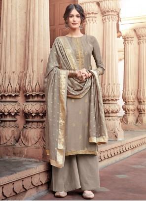 Grey Embroidered Viscose Trendy Salwar Kameez